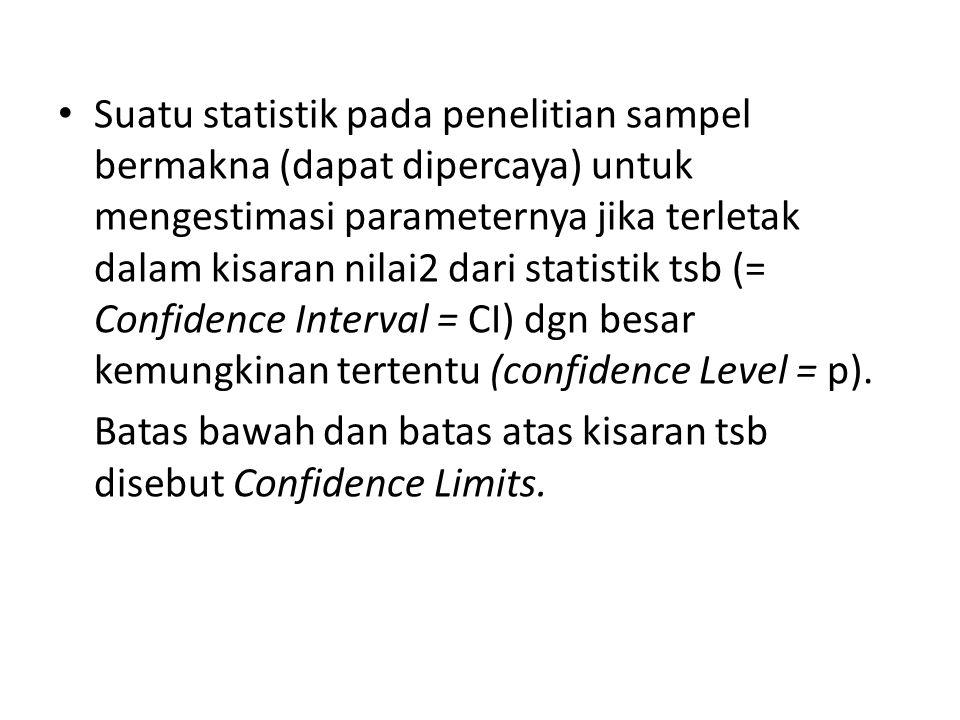 Suatu statistik pada penelitian sampel bermakna (dapat dipercaya) untuk mengestimasi parameternya jika terletak dalam kisaran nilai2 dari statistik tsb (= Confidence Interval = CI) dgn besar kemungkinan tertentu (confidence Level = p).