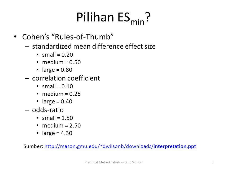 Practical Meta-Analysis -- D. B. Wilson3 Pilihan ES min .