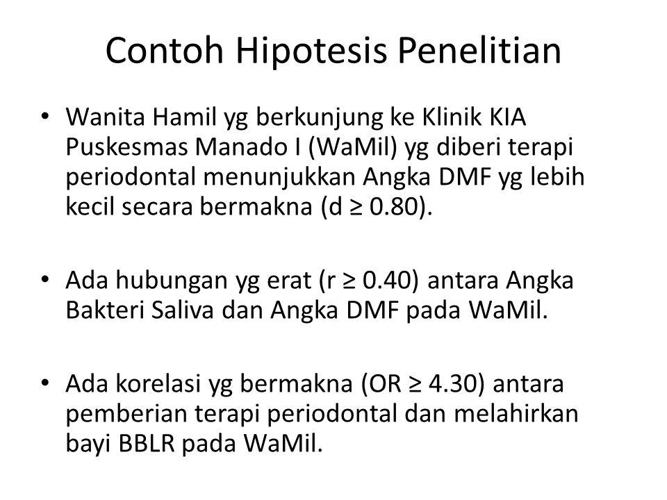 Contoh Hipotesis Penelitian Wanita Hamil yg berkunjung ke Klinik KIA Puskesmas Manado I (WaMil) yg diberi terapi periodontal menunjukkan Angka DMF yg lebih kecil secara bermakna (d ≥ 0.80).