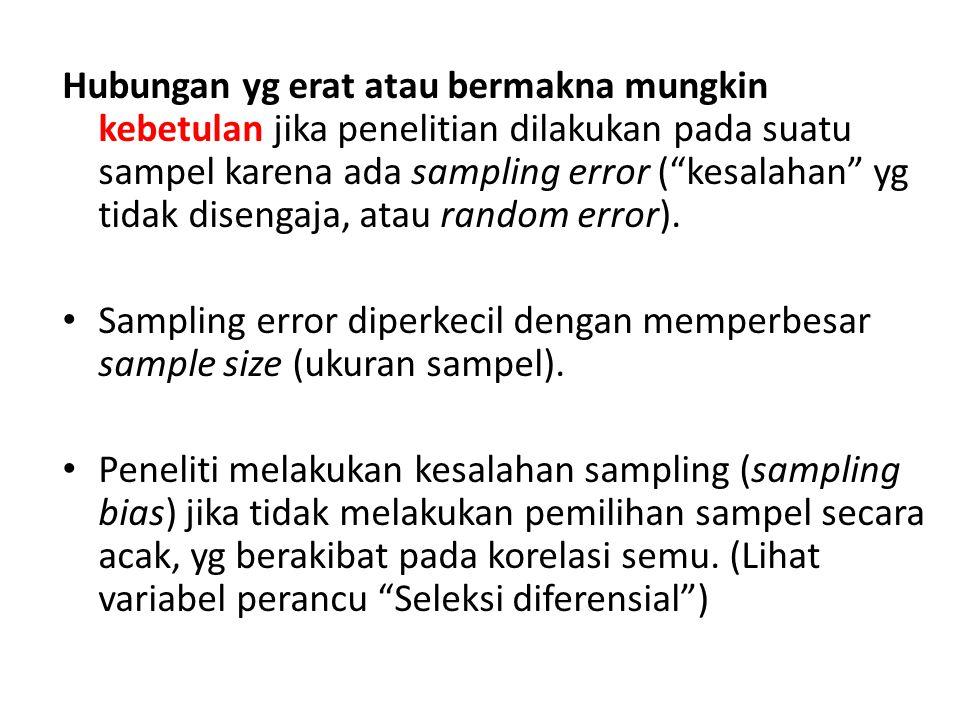 Hubungan yg erat atau bermakna mungkin kebetulan jika penelitian dilakukan pada suatu sampel karena ada sampling error ( kesalahan yg tidak disengaja, atau random error).