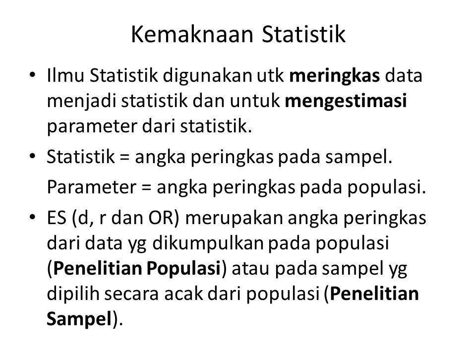 Kemaknaan Statistik Ilmu Statistik digunakan utk meringkas data menjadi statistik dan untuk mengestimasi parameter dari statistik.