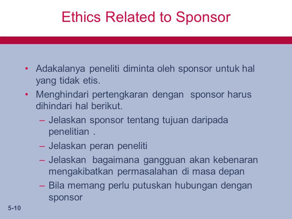 5-10 Ethics Related to Sponsor Adakalanya peneliti diminta oleh sponsor untuk hal yang tidak etis.