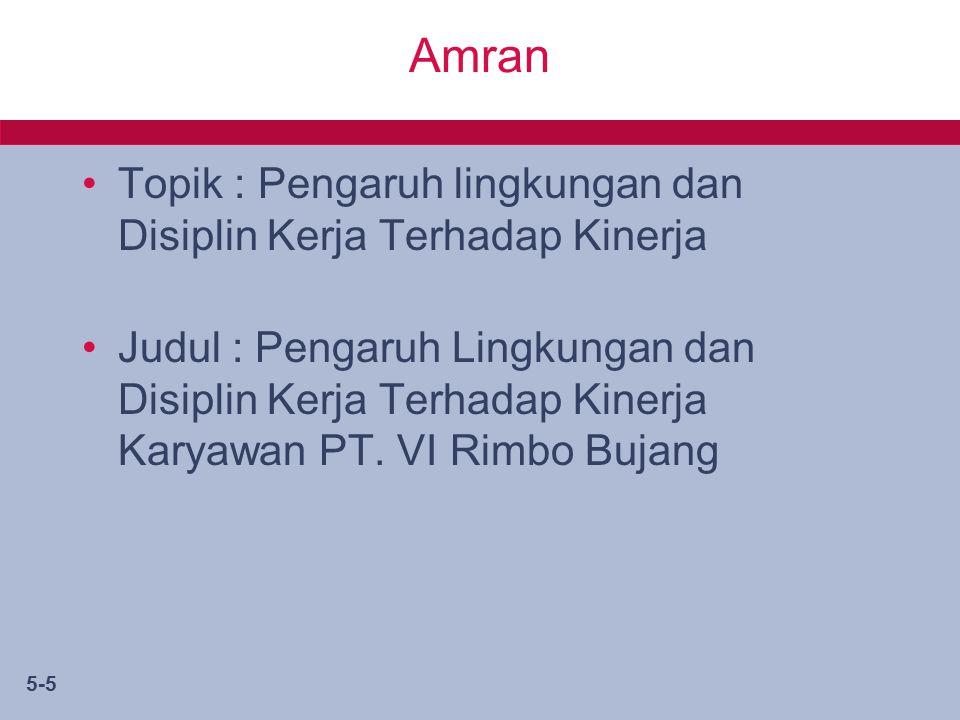 5-5 Amran Topik : Pengaruh lingkungan dan Disiplin Kerja Terhadap Kinerja Judul : Pengaruh Lingkungan dan Disiplin Kerja Terhadap Kinerja Karyawan PT.