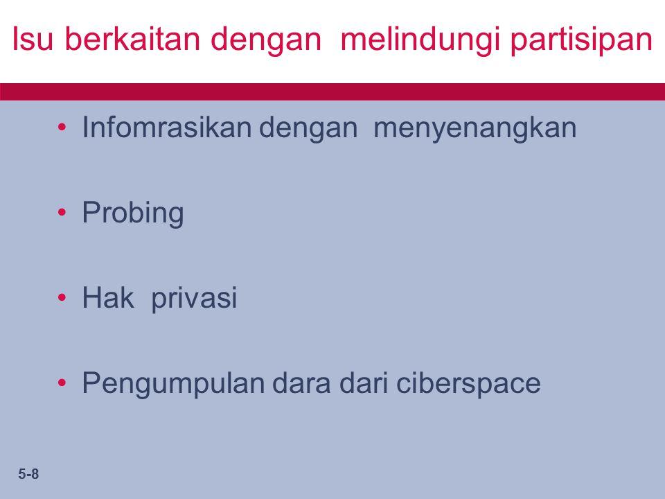 5-8 Isu berkaitan dengan melindungi partisipan Infomrasikan dengan menyenangkan Probing Hak privasi Pengumpulan dara dari ciberspace