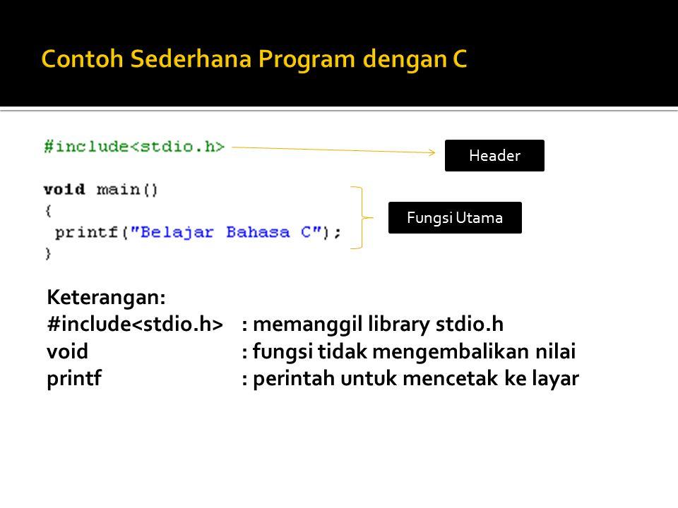 Keterangan: #include : memanggil library stdio.h void: fungsi tidak mengembalikan nilai printf: perintah untuk mencetak ke layar Header Fungsi Utama