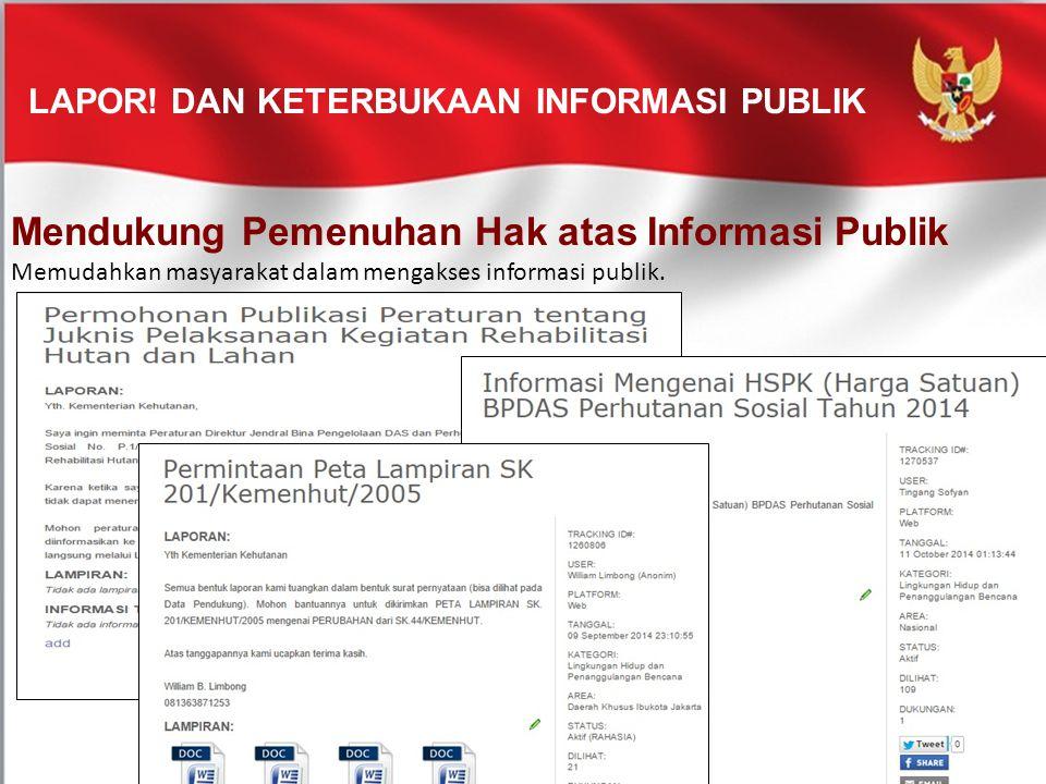 LAPOR! DAN KETERBUKAAN INFORMASI PUBLIK Mendukung Pemenuhan Hak atas Informasi Publik Memudahkan masyarakat dalam mengakses informasi publik.