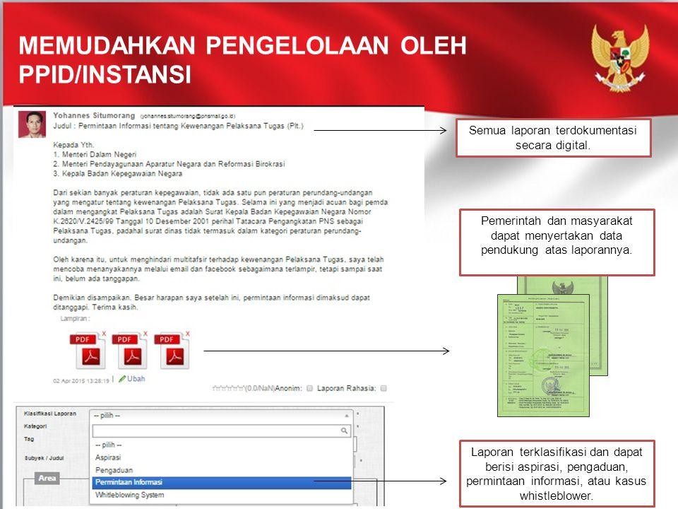 MEMUDAHKAN PENGELOLAAN OLEH PPID/INSTANSI Semua laporan terdokumentasi secara digital. Pemerintah dan masyarakat dapat menyertakan data pendukung atas