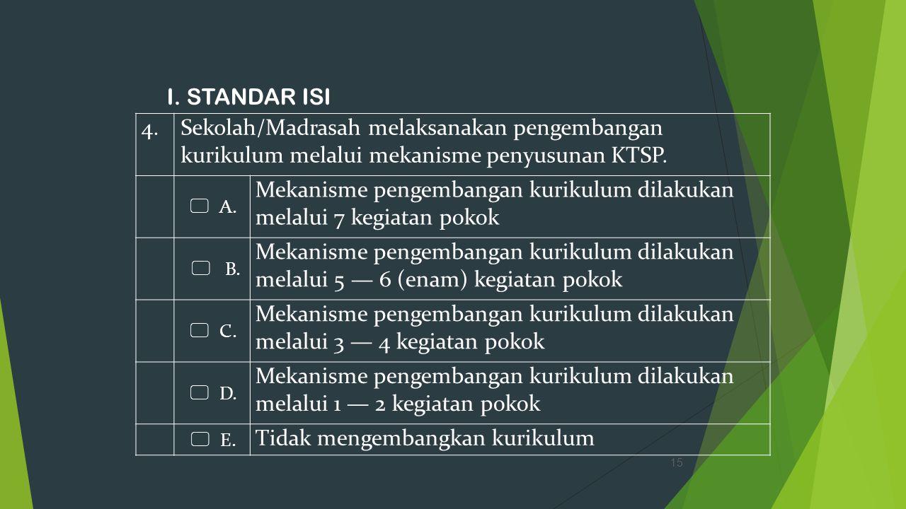 I. STANDAR ISI 15 4.Sekolah/Madrasah melaksanakan pengembangan kurikulum melalui mekanisme penyusunan KTSP.  A. Mekanisme pengembangan kurikulum dila