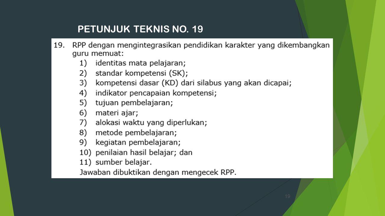 PETUNJUK TEKNIS NO. 19 19