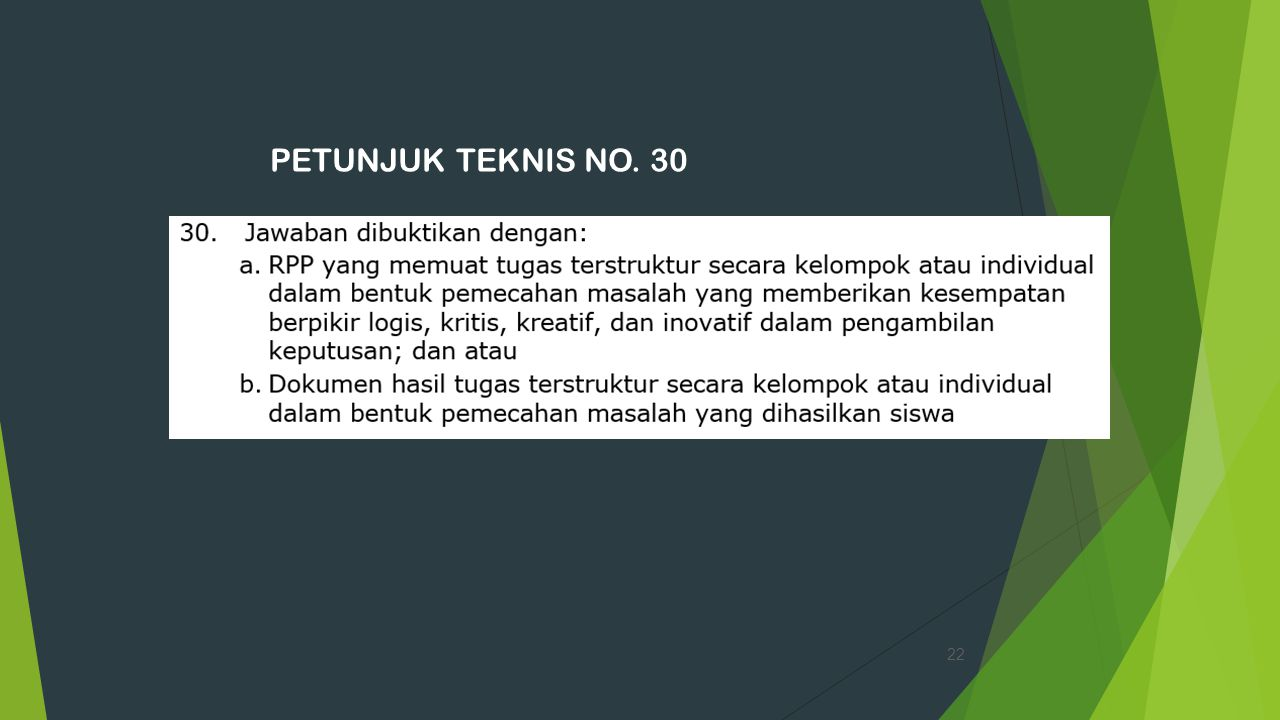 PETUNJUK TEKNIS NO. 30 22