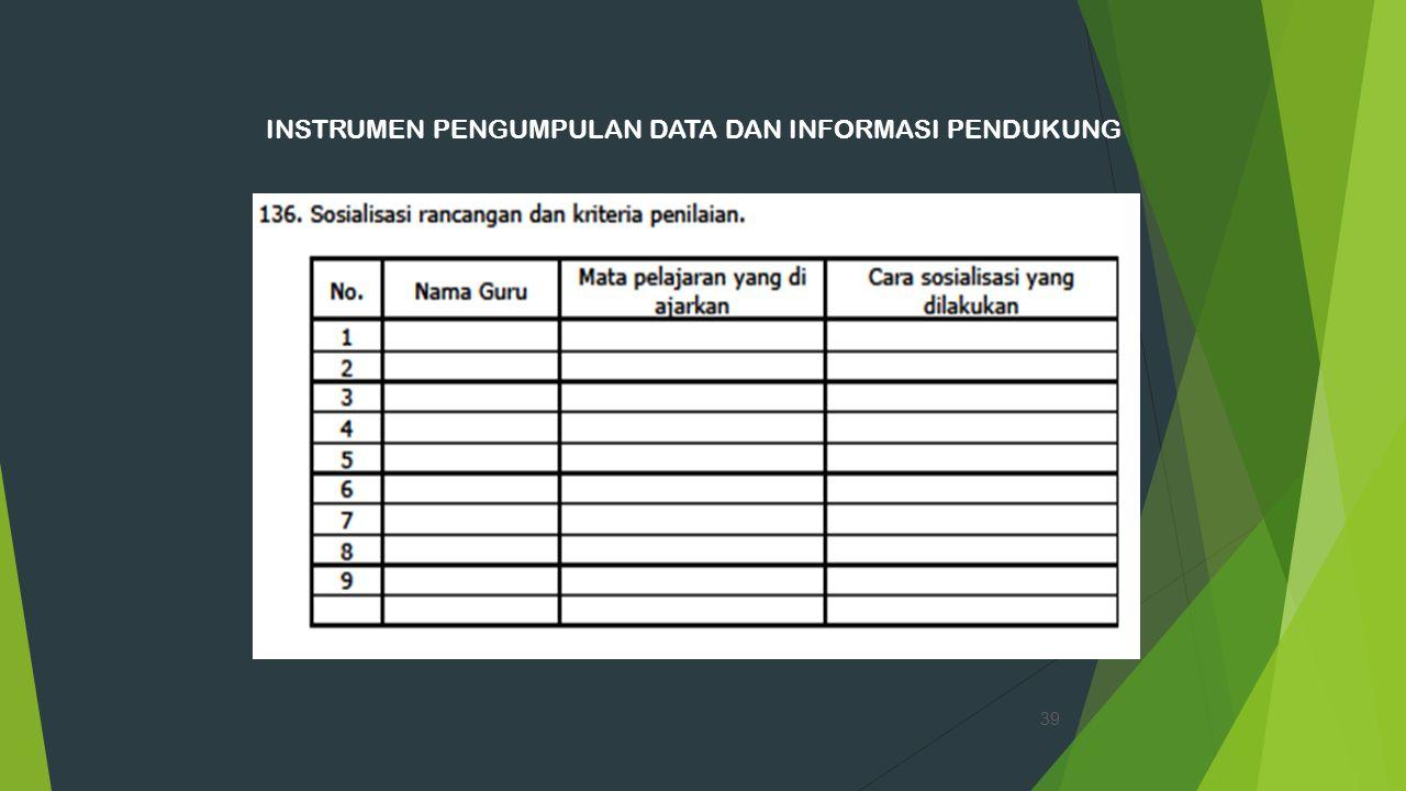 INSTRUMEN PENGUMPULAN DATA DAN INFORMASI PENDUKUNG 39