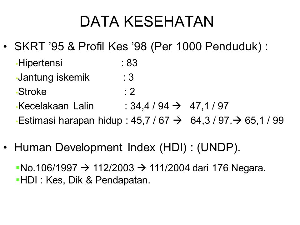 MASALAH KESEHATAN NASIONAL Indonesia Sehat 2010 (1999) BEBAN MAJEMUK KESEHATAN (TRIPLE BURDEN) : RE-ENDEMI : Malaria, TBC, Diare. (Rendah : Gizi & San