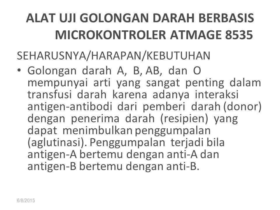 6/8/2015 ALAT UJI GOLONGAN DARAH BERBASIS MICROKONTROLER ATMAGE 8535 SEHARUSNYA/HARAPAN/KEBUTUHAN Golongan darah A, B, AB, dan O mempunyai arti yang s