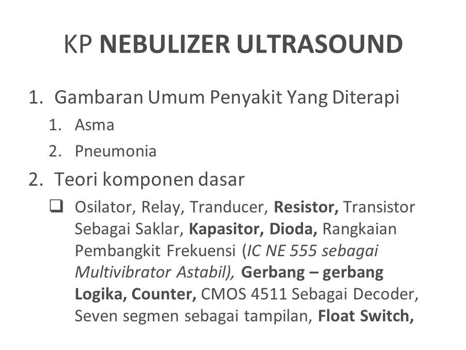 KP NEBULIZER ULTRASOUND 1.Gambaran Umum Penyakit Yang Diterapi 1.Asma 2.Pneumonia 2.Teori komponen dasar  Osilator, Relay, Tranducer, Resistor, Trans