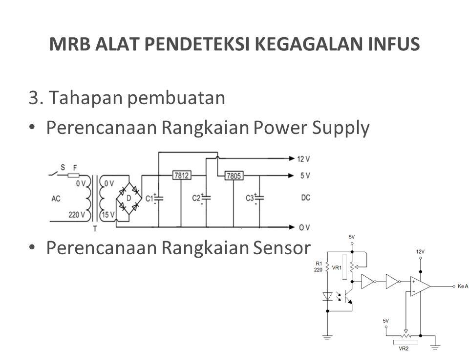 3. Tahapan pembuatan Perencanaan Rangkaian Power Supply Perencanaan Rangkaian Sensor MRB ALAT PENDETEKSI KEGAGALAN INFUS