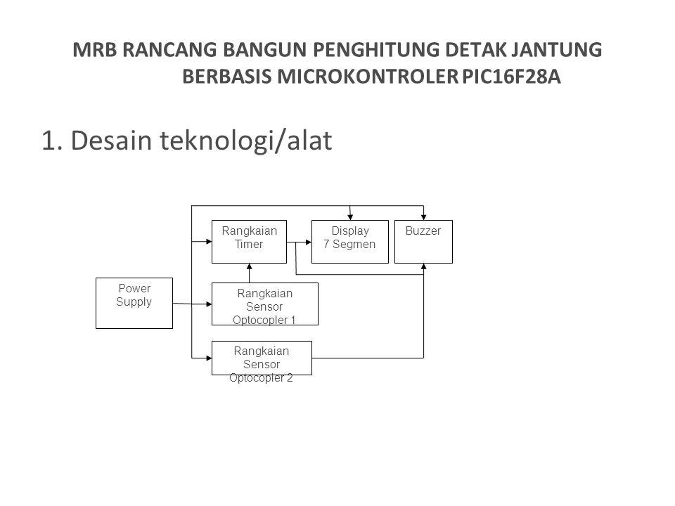 1. Desain teknologi/alat MRB RANCANG BANGUN PENGHITUNG DETAK JANTUNG BERBASIS MICROKONTROLER PIC16F28A Power Supply Rangkaian Sensor Optocopler 1 Rang