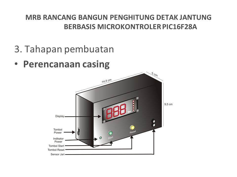 3. Tahapan pembuatan Perencanaan casing MRB RANCANG BANGUN PENGHITUNG DETAK JANTUNG BERBASIS MICROKONTROLER PIC16F28A