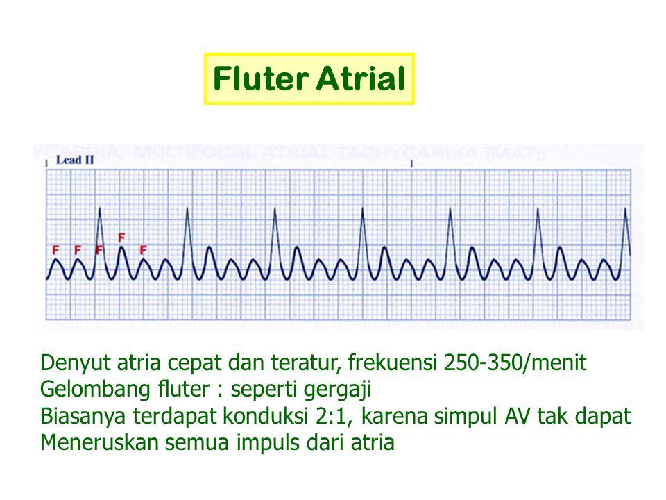Fluter Atrial Denyut atria cepat dan teratur, frekuensi 250-350/menit Gelombang fluter : seperti gergaji Biasanya terdapat konduksi 2:1, karena simpul