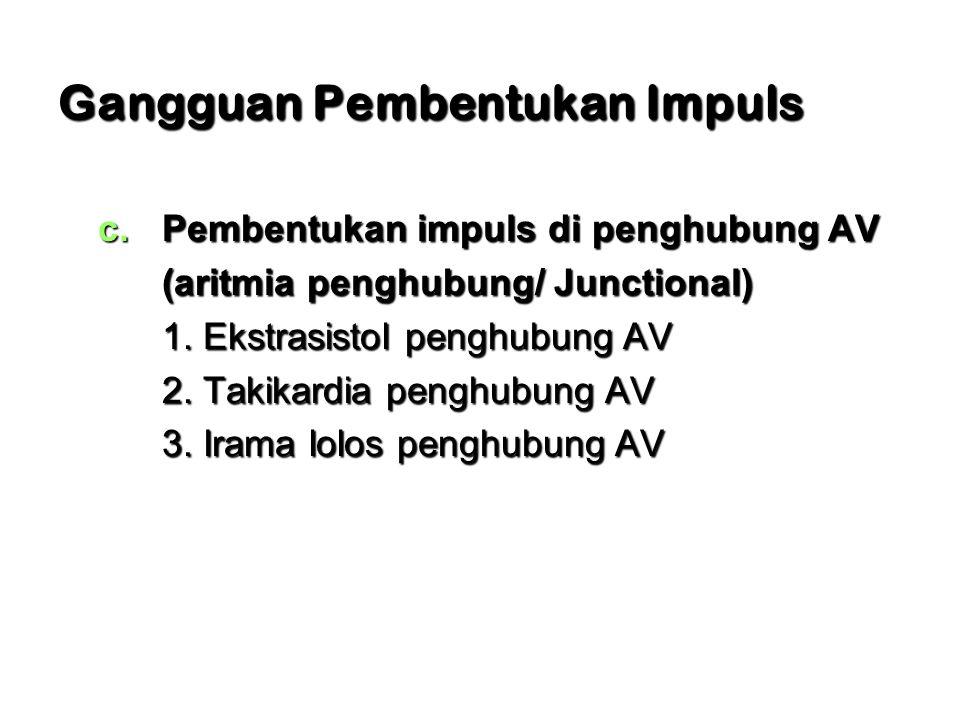 Gangguan Pembentukan Impuls c.Pembentukan impuls di penghubung AV (aritmia penghubung/ Junctional) 1. Ekstrasistol penghubung AV 2. Takikardia penghub