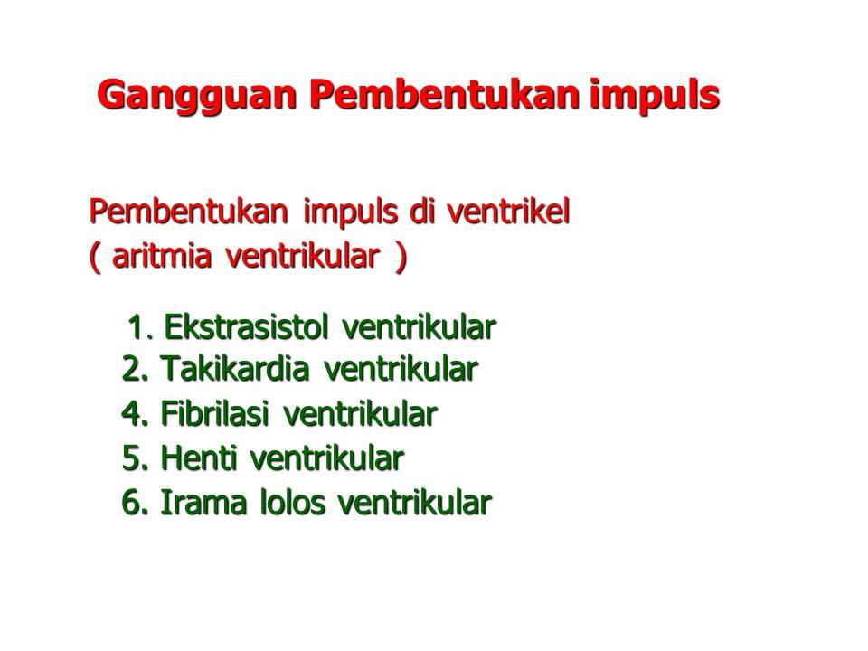 Gangguan Pembentukan impuls Gangguan Pembentukan impuls Pembentukan impuls di ventrikel ( aritmia ventrikular ) 1. Ekstrasistol ventrikular 1. Ekstras