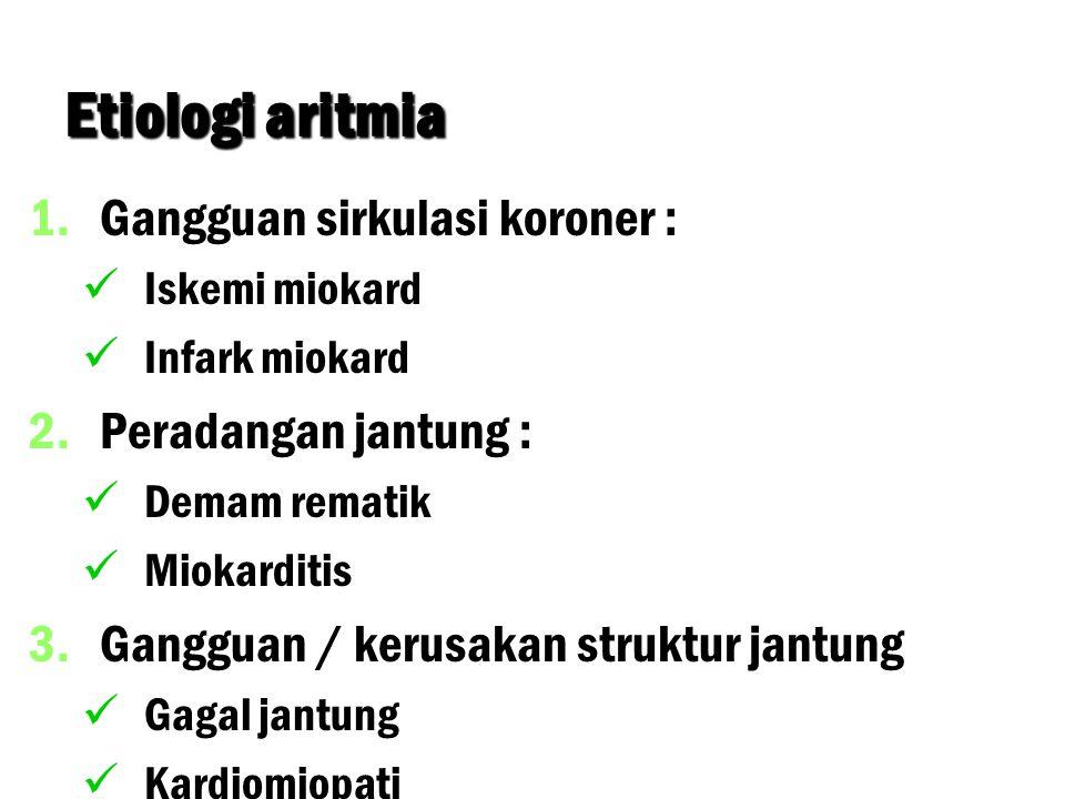 Etiologi aritmia 1. 1.Gangguan sirkulasi koroner : Iskemi miokard Infark miokard 2. 2.Peradangan jantung : Demam rematik Miokarditis 3. 3.Gangguan / k