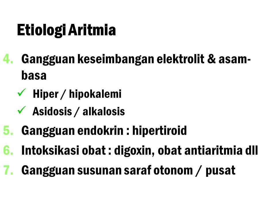 Etiologi Aritmia 4. 4.Gangguan keseimbangan elektrolit & asam- basa Hiper / hipokalemi Asidosis / alkalosis 5. 5.Gangguan endokrin : hipertiroid 6. 6.