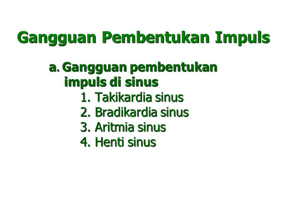 Gangguan Pembentukan Impuls a. Gangguan pembentukan impuls di sinus impuls di sinus 1. Takikardia sinus 1. Takikardia sinus 2. Bradikardia sinus 2. Br