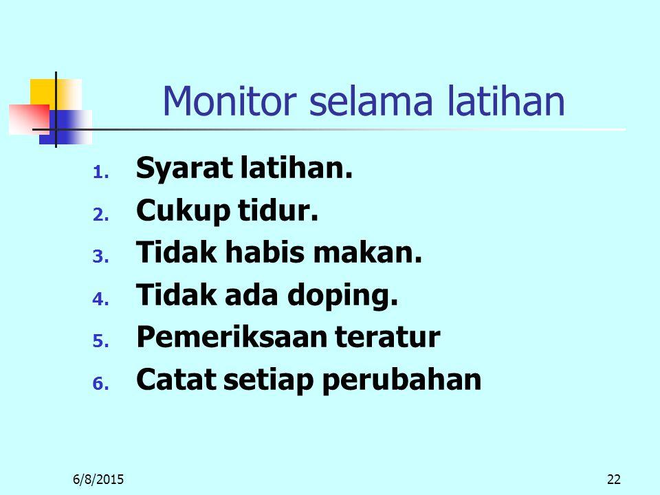 6/8/201522 Monitor selama latihan 1.Syarat latihan.