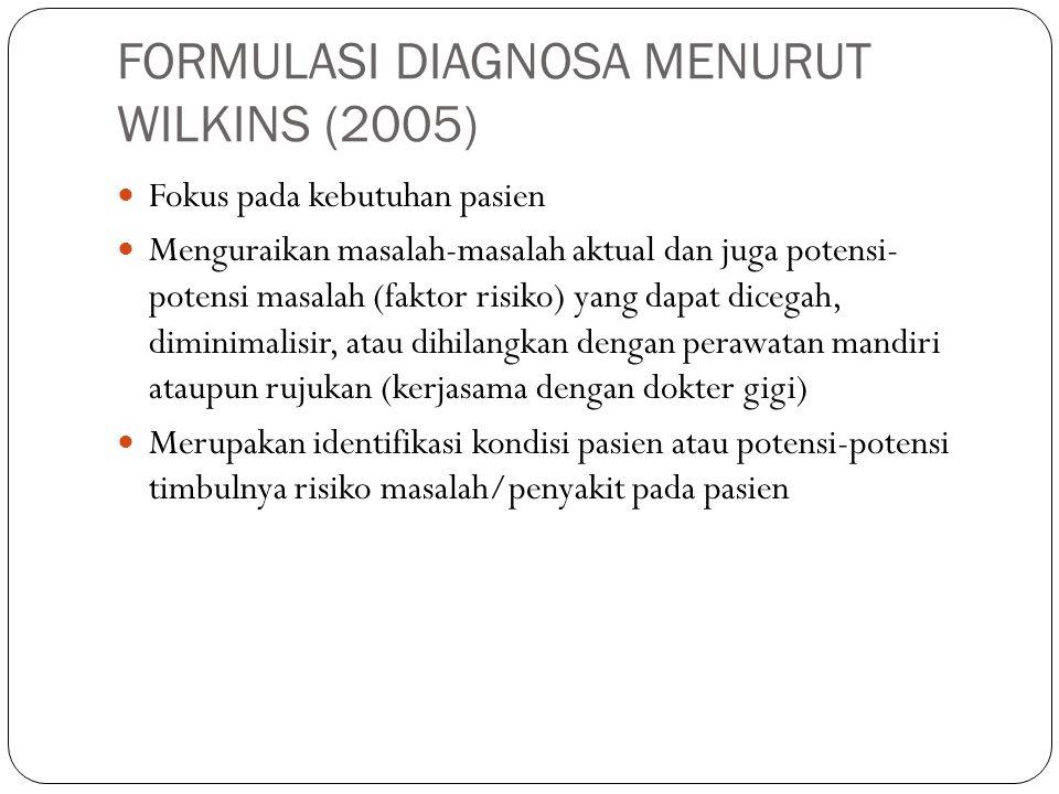 FORMULASI DIAGNOSA MENURUT WILKINS (2005) Fokus pada kebutuhan pasien Menguraikan masalah-masalah aktual dan juga potensi- potensi masalah (faktor ris