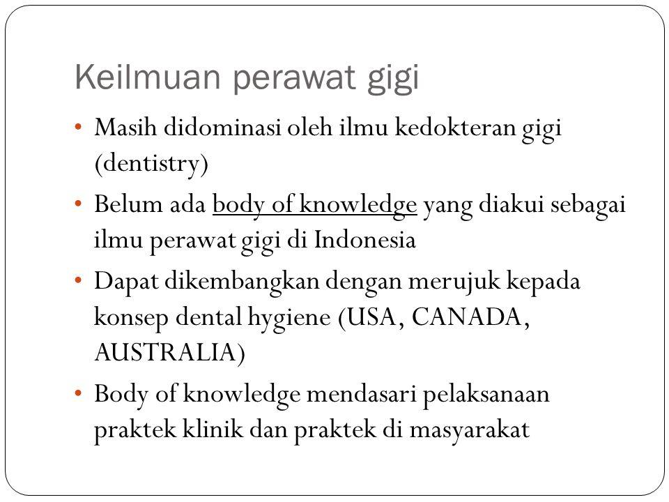 Keilmuan perawat gigi Masih didominasi oleh ilmu kedokteran gigi (dentistry) Belum ada body of knowledge yang diakui sebagai ilmu perawat gigi di Indo