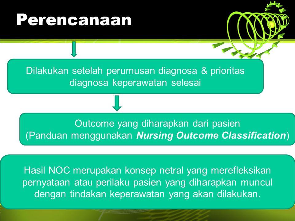 Perencanaan Dilakukan setelah perumusan diagnosa & prioritas diagnosa keperawatan selesai Outcome yang diharapkan dari pasien (Panduan menggunakan Nur