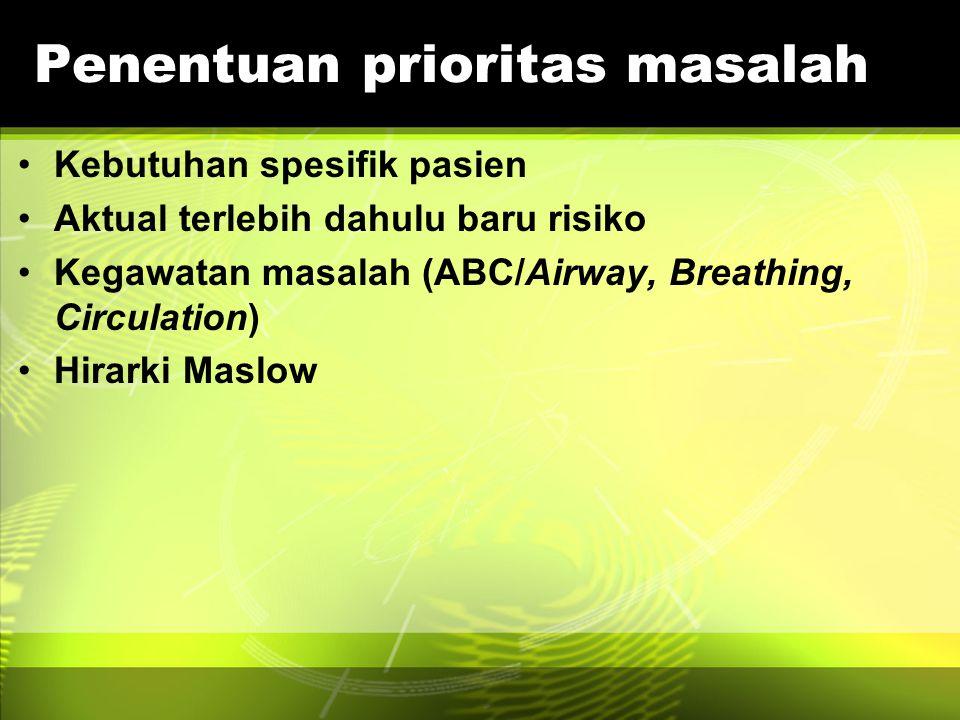 Penentuan prioritas masalah Kebutuhan spesifik pasien Aktual terlebih dahulu baru risiko Kegawatan masalah (ABC/Airway, Breathing, Circulation) Hirark