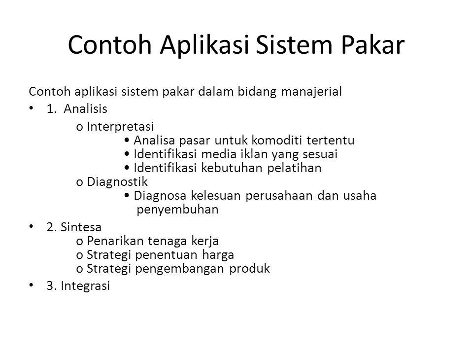 Contoh Aplikasi Sistem Pakar Contoh aplikasi sistem pakar dalam bidang manajerial 1. Analisis o Interpretasi Analisa pasar untuk komoditi tertentu Ide