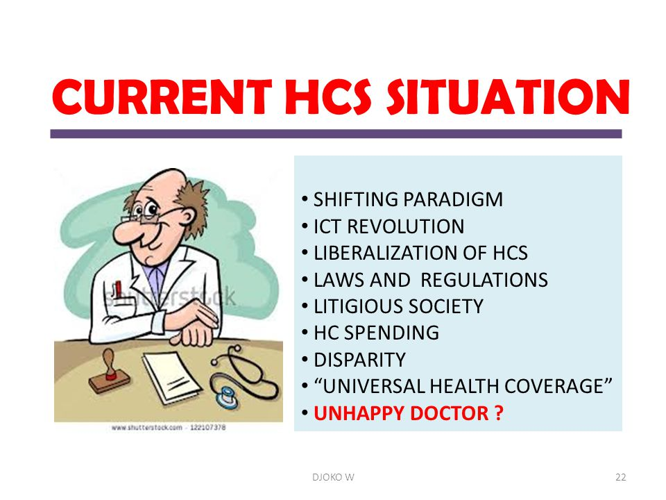 "CURRENT HCS SITUATION SHIFTING PARADIGM ICT REVOLUTION LIBERALIZATION OF HCS LAWS AND REGULATIONS LITIGIOUS SOCIETY HC SPENDING DISPARITY ""UNIVERSAL H"