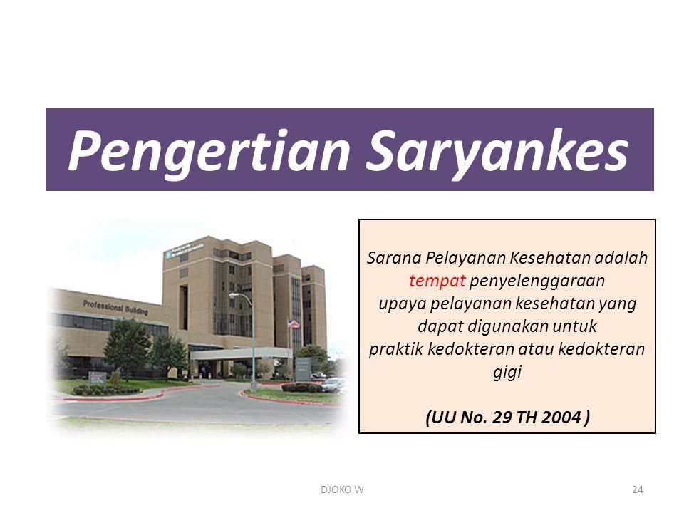 Pengertian Saryankes Sarana Pelayanan Kesehatan adalah tempat penyelenggaraan upaya pelayanan kesehatan yang dapat digunakan untuk praktik kedokteran atau kedokteran gigi (UU No.