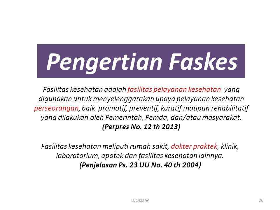 Pengertian Faskes Fasilitas kesehatan adalah fasilitas pelayanan kesehatan yang digunakan untuk menyelenggarakan upaya pelayanan kesehatan perseorangan, baik promotif, preventif, kuratif maupun rehabilitatif yang dilakukan oleh Pemerintah, Pemda, dan/atau masyarakat.