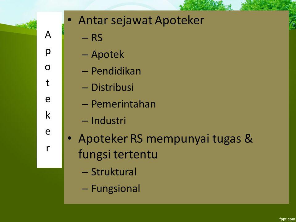 Antar sejawat Apoteker – RS – Apotek – Pendidikan – Distribusi – Pemerintahan – Industri Apoteker RS mempunyai tugas & fungsi tertentu – Struktural –