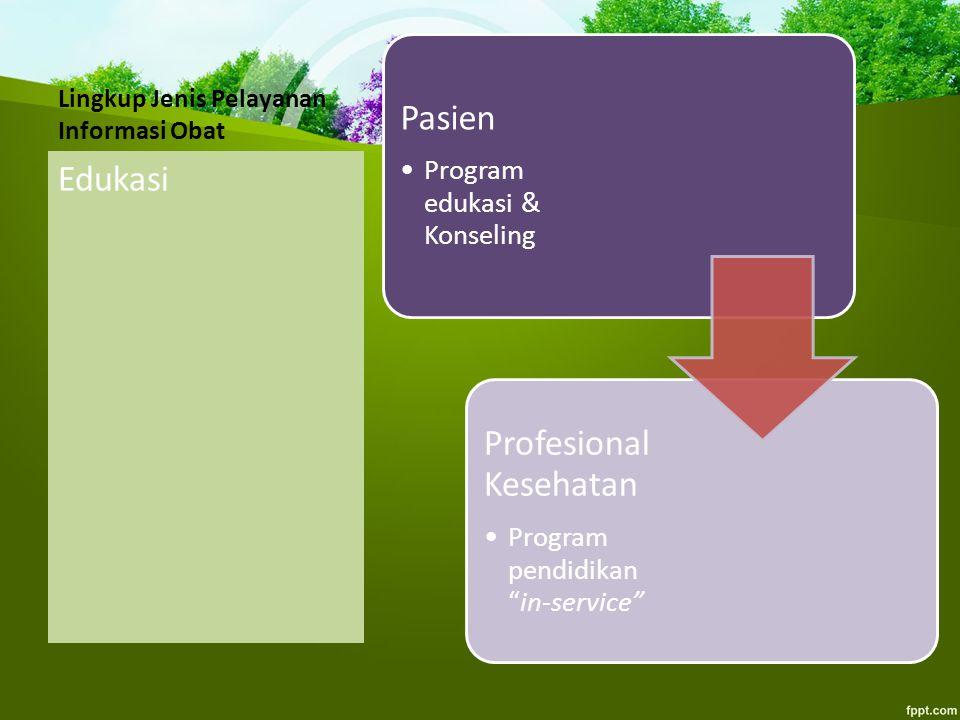 """Lingkup Jenis Pelayanan Informasi Obat Edukasi Pasien Program edukasi & Konseling Profesional Kesehatan Program pendidikan """"in-service"""""""