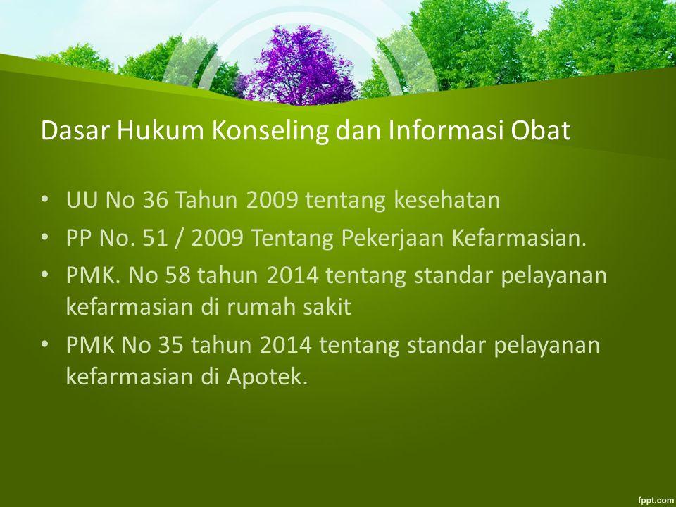 Dasar Hukum Konseling dan Informasi Obat UU No 36 Tahun 2009 tentang kesehatan PP No. 51 / 2009 Tentang Pekerjaan Kefarmasian. PMK. No 58 tahun 2014 t