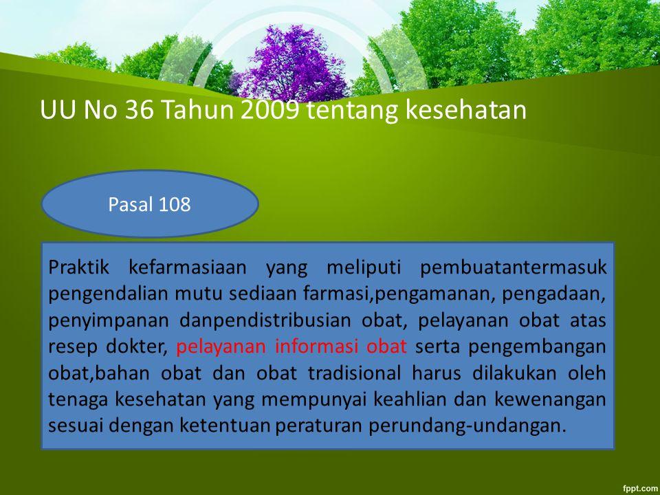 UU No 36 Tahun 2009 tentang kesehatan Pasal 108 Praktik kefarmasiaan yang meliputi pembuatantermasuk pengendalian mutu sediaan farmasi,pengamanan, pen