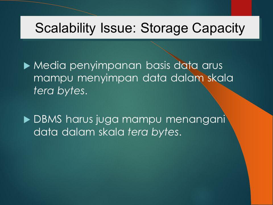  Media penyimpanan basis data arus mampu menyimpan data dalam skala tera bytes.  DBMS harus juga mampu menangani data dalam skala tera bytes. Scalab