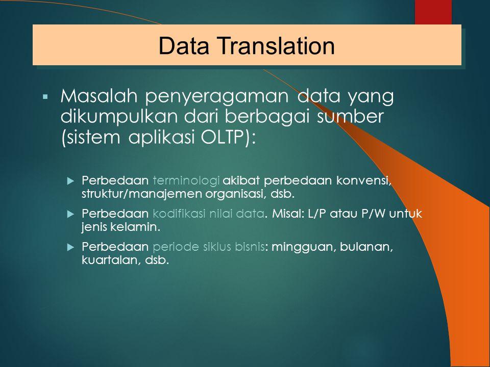  Masalah penyeragaman data yang dikumpulkan dari berbagai sumber (sistem aplikasi OLTP):  Perbedaan terminologi akibat perbedaan konvensi, struktur/