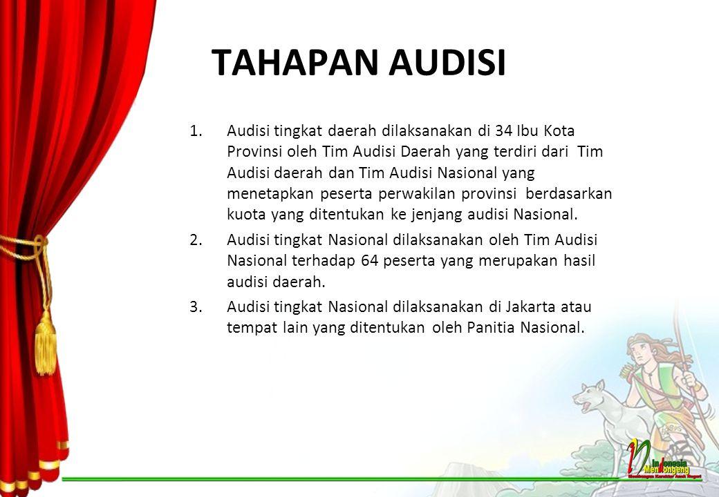 TAHAPAN AUDISI 1.Audisi tingkat daerah dilaksanakan di 34 Ibu Kota Provinsi oleh Tim Audisi Daerah yang terdiri dari Tim Audisi daerah dan Tim Audisi