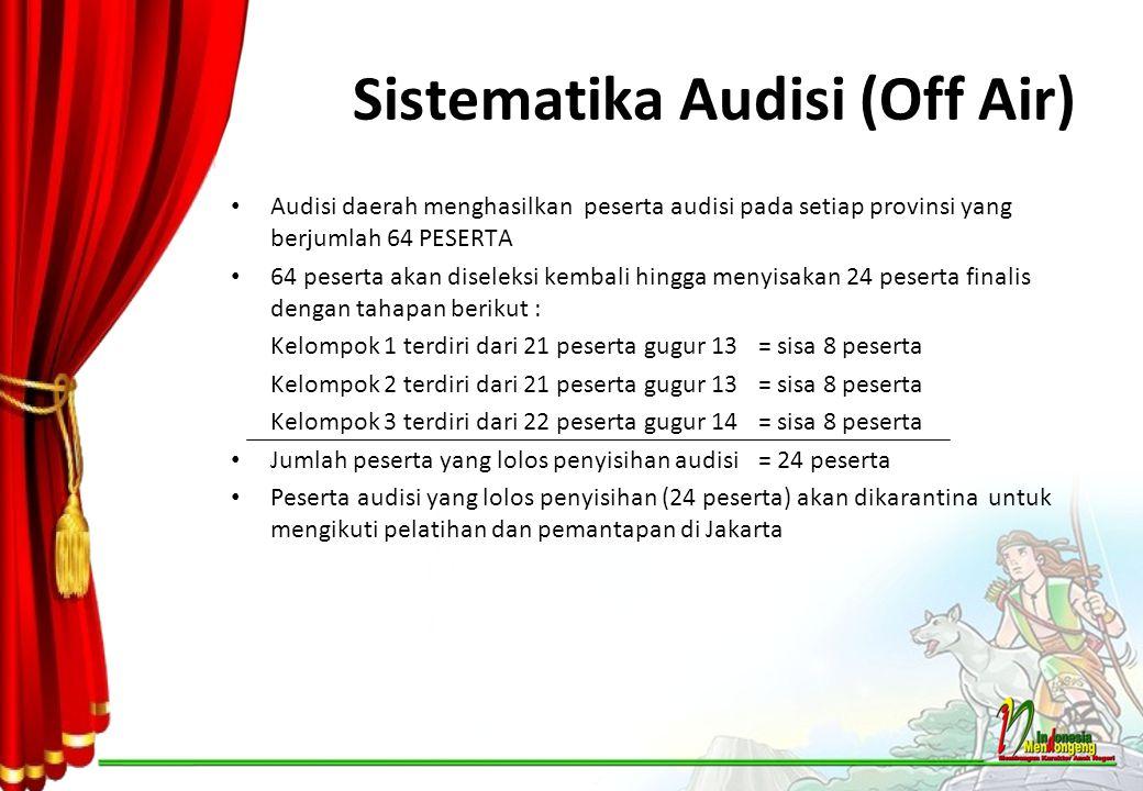 Sistematika Audisi (Off Air) Audisi daerah menghasilkan peserta audisi pada setiap provinsi yang berjumlah 64 PESERTA 64 peserta akan diseleksi kembal