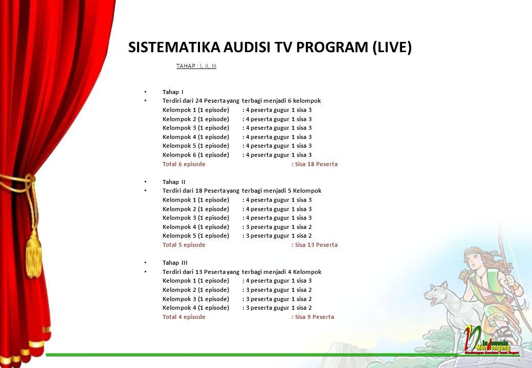 SISTEMATIKA AUDISI TV PROGRAM (LIVE) TAHAP : I, II, III Tahap I Terdiri dari 24 Peserta yang terbagi menjadi 6 kelompok Kelompok 1 (1 episode): 4 pese