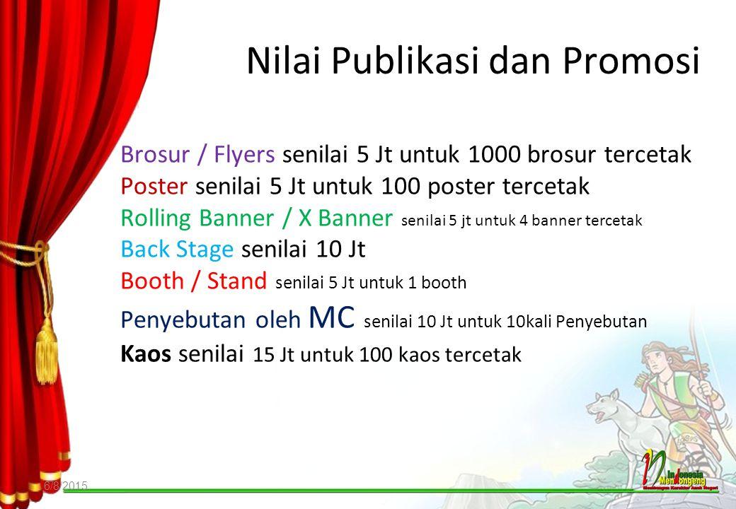 Nilai Publikasi dan Promosi 6/8/2015 Brosur / Flyers senilai 5 Jt untuk 1000 brosur tercetak Poster senilai 5 Jt untuk 100 poster tercetak Rolling Ban