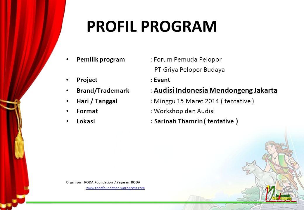 PROFIL PROGRAM Pemilik program: Forum Pemuda Pelopor PT Griya Pelopor Budaya Project : Event Brand/Trademark: Audisi Indonesia Mendongeng Jakarta Hari