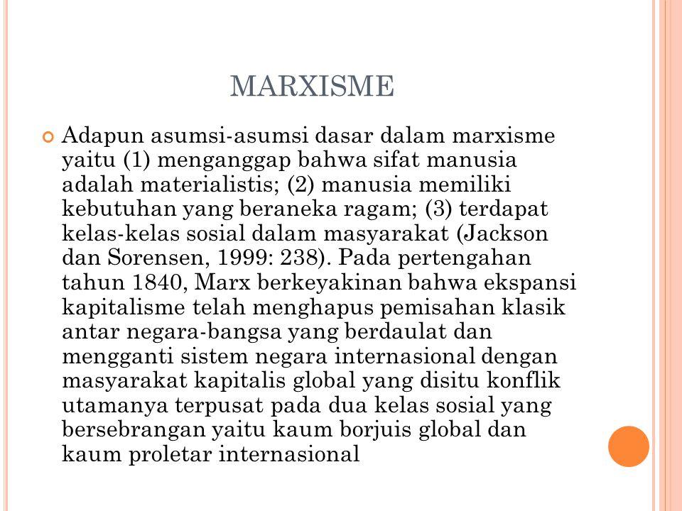 MARXISME Adapun asumsi-asumsi dasar dalam marxisme yaitu (1) menganggap bahwa sifat manusia adalah materialistis; (2) manusia memiliki kebutuhan yang