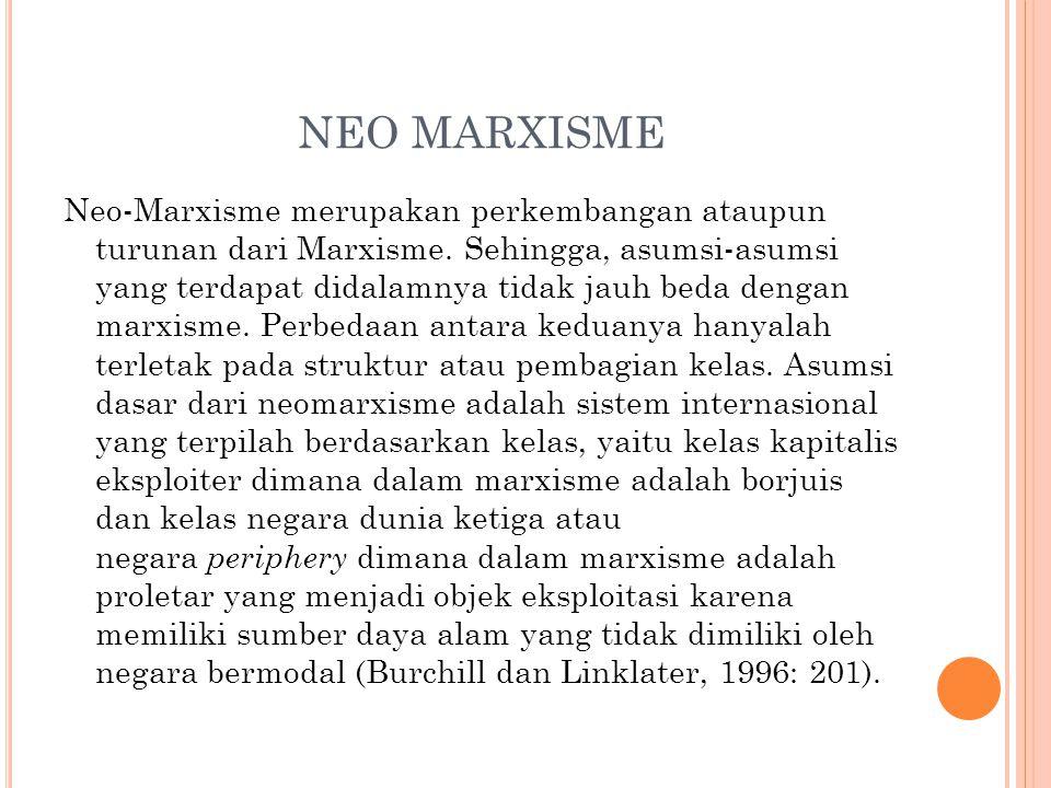 NEO MARXISME Neo-Marxisme merupakan perkembangan ataupun turunan dari Marxisme. Sehingga, asumsi-asumsi yang terdapat didalamnya tidak jauh beda denga