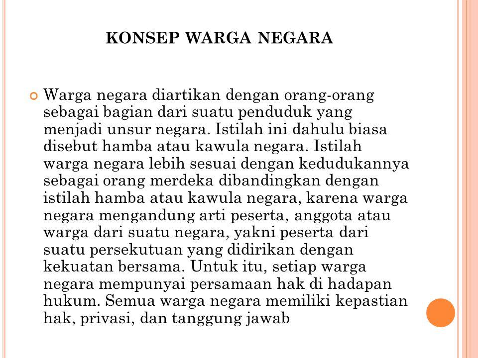 KONSEP WARGA NEGARA warga negara ( sesuai dengan UUD 1945 pasal 26 ) dimaksudkan untuk bangsa Indonesia asli dan bangsa lain yang disahkan undang-undang sebagai warga negara.